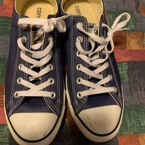 Dark blue leather converse